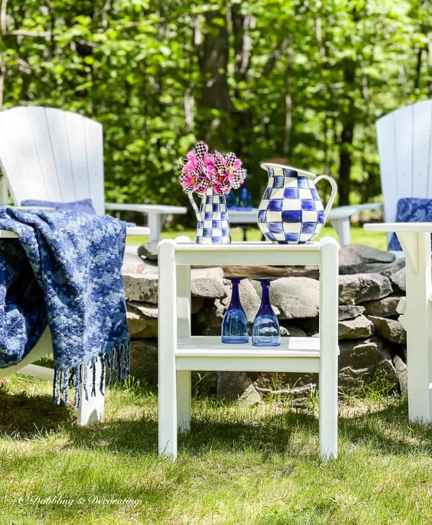 Blue Checkered with MacKenzie-Childs  Houndstooth Throw Blanket.