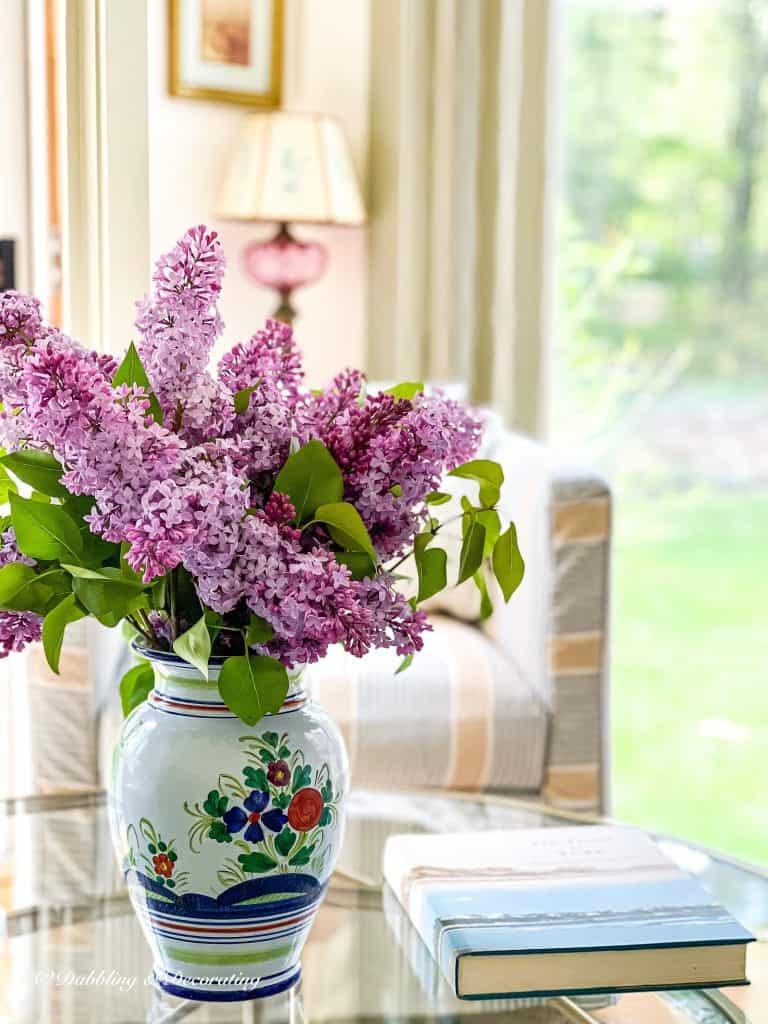 The Color Purple Lilacs in the sunroom.