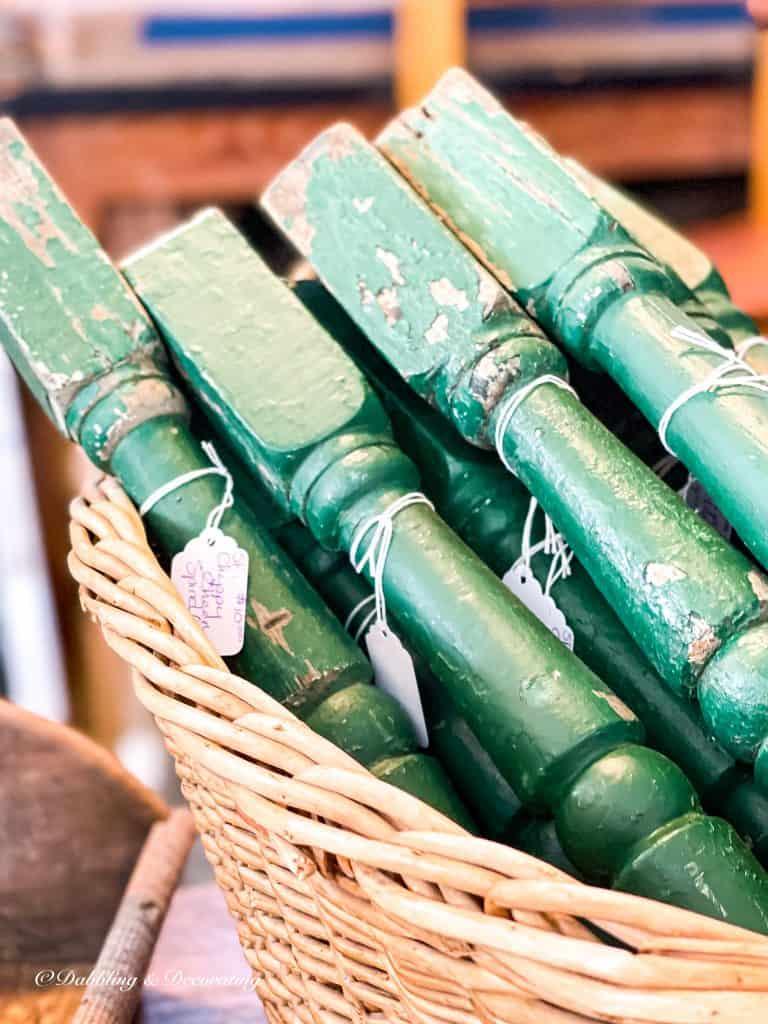 Green vintage spools
