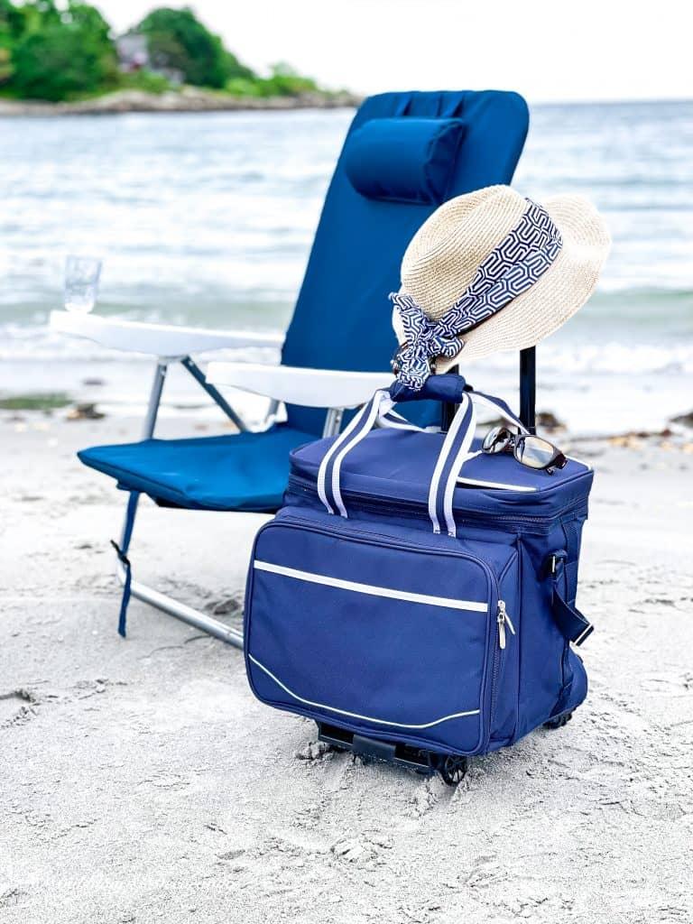 My Favorite Beach Day Essentials Beach chair and Cooler.