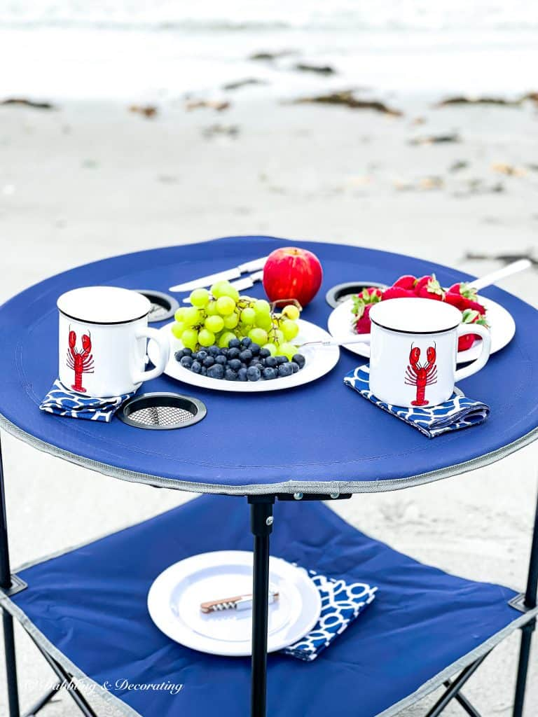 My Favorite Beach Day Essentials Folding picnic table.