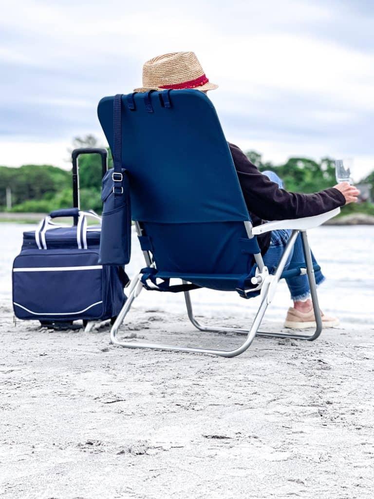My Favorite Beach Day Essentials.  Beach chair and cooler.