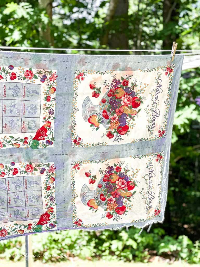Thrift Vintage Stores Near Me.  Thrifted vintage tablecloth hanging from the clothesline.
