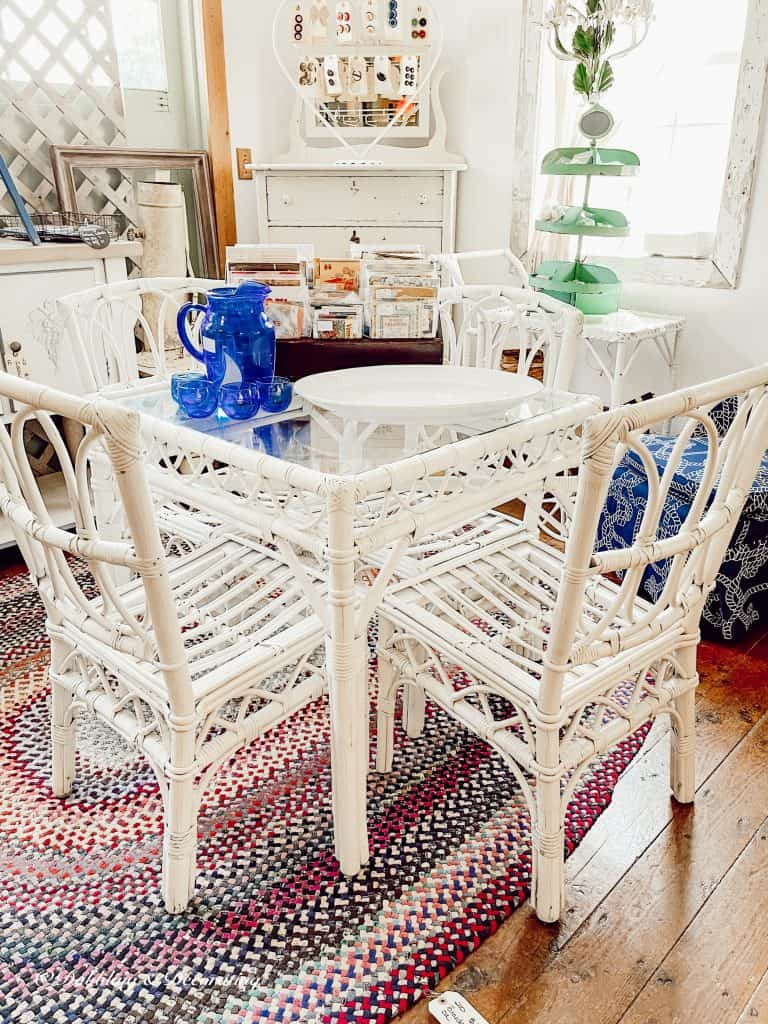 white wicker table set