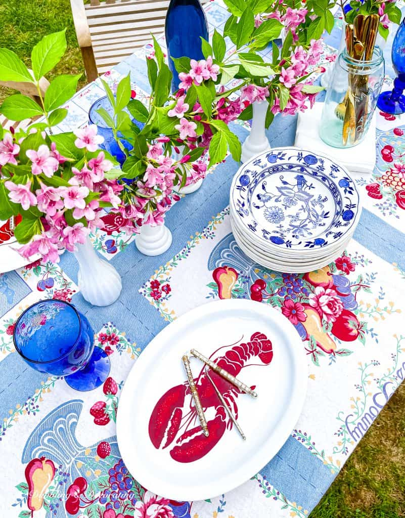 Alfresco thrifted summer table.  red, white, and blue.