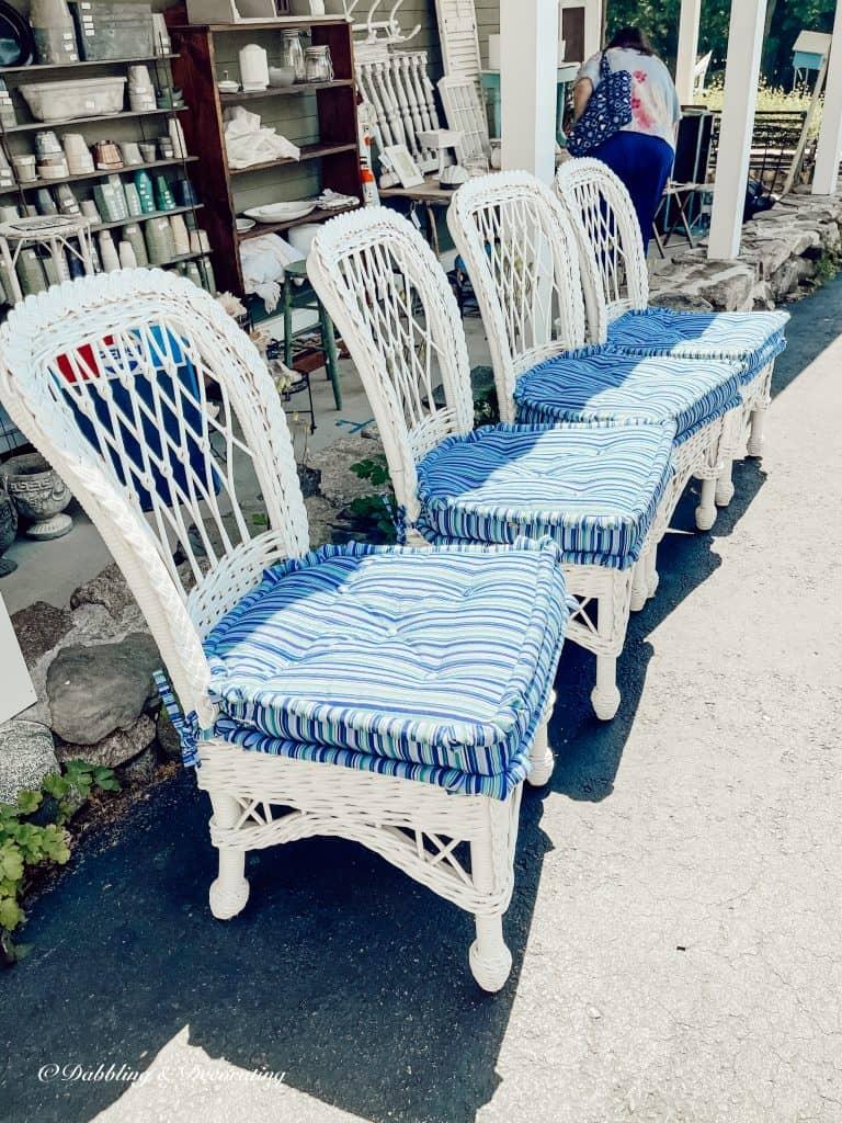 blue wicker chairs