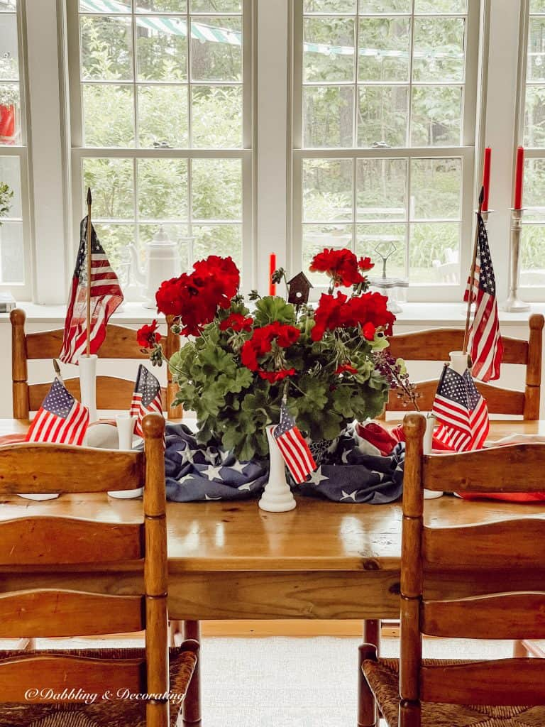 Vintage Style Patriotic Centerpiece  Dining room table.