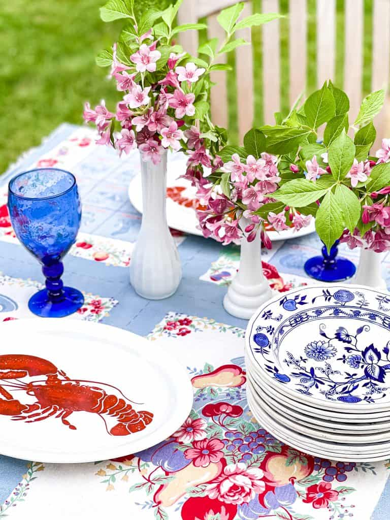 What Does Frugality Mean to You?  A thrifted outdoor summer table.