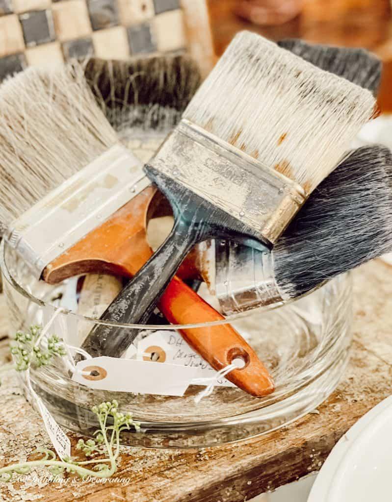 bowl of old paintbrushes