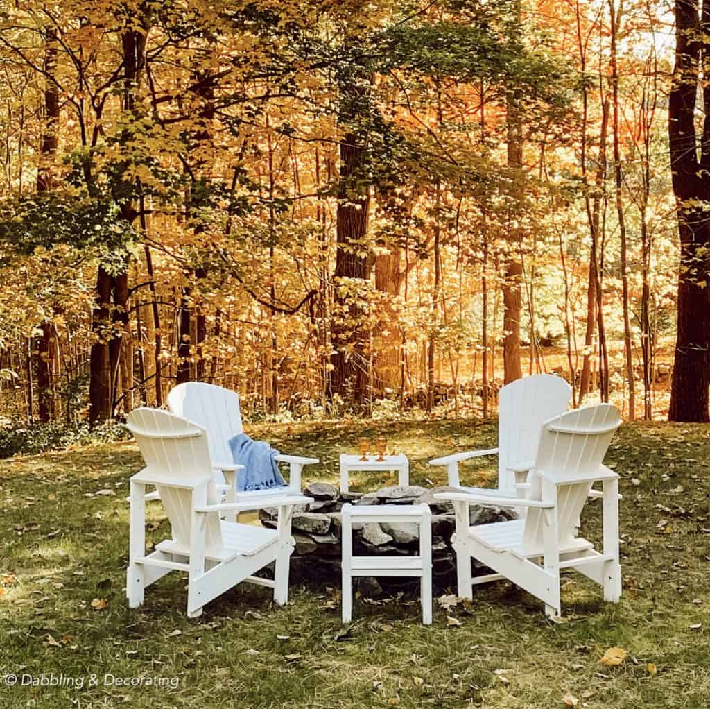 Coastal Maine Natural Stone Fire Pit with Adirondack Chairs.  How to Design a Backyard Fire Pit Conversation Set
