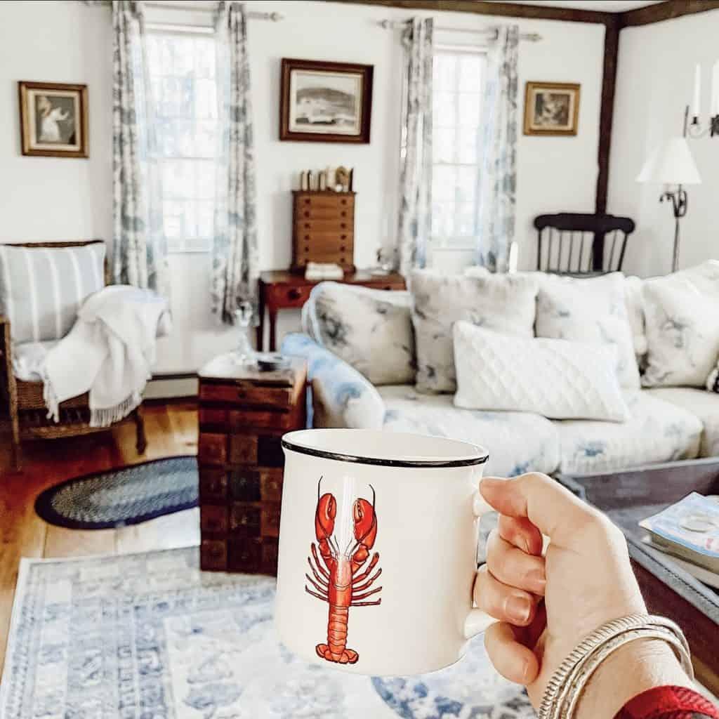 Living Room with lobster mug.