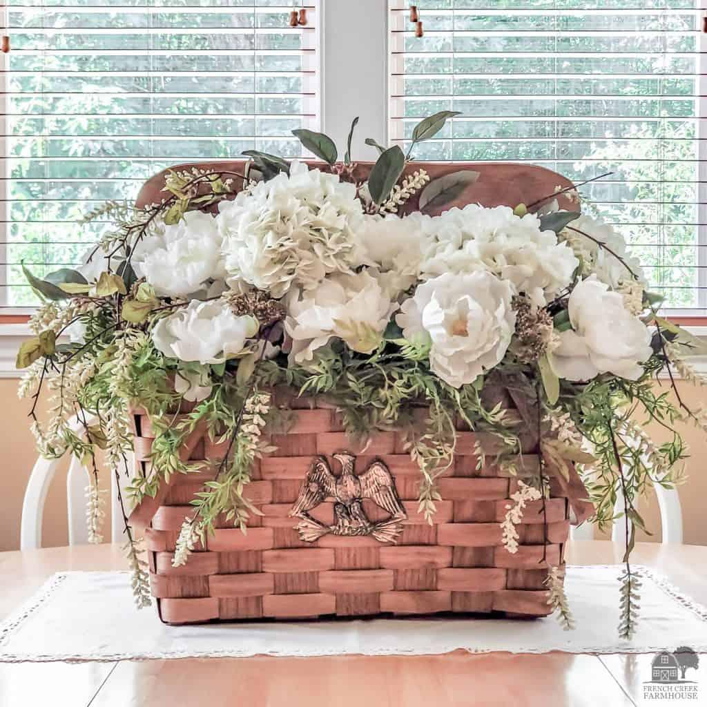 Vintage Picnic Basket Floral Arrangement
