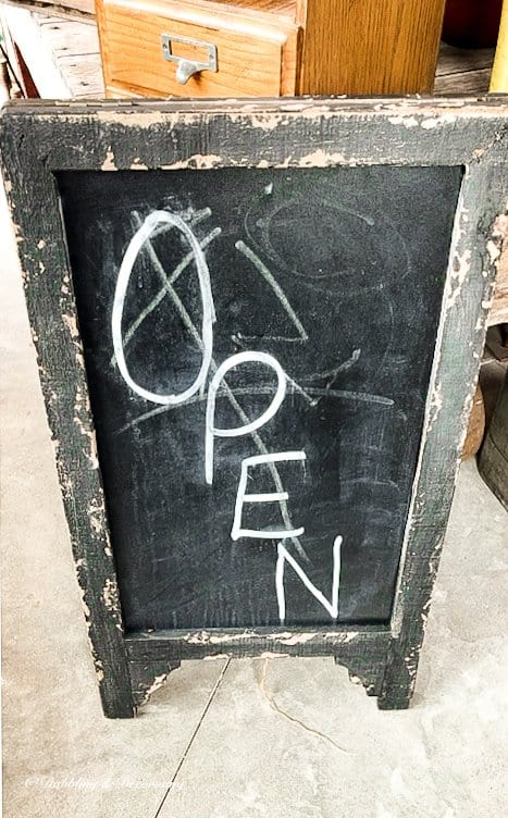 Thrifting with the Gals from Vermont to Maine.  Open Chalkboard Sign.