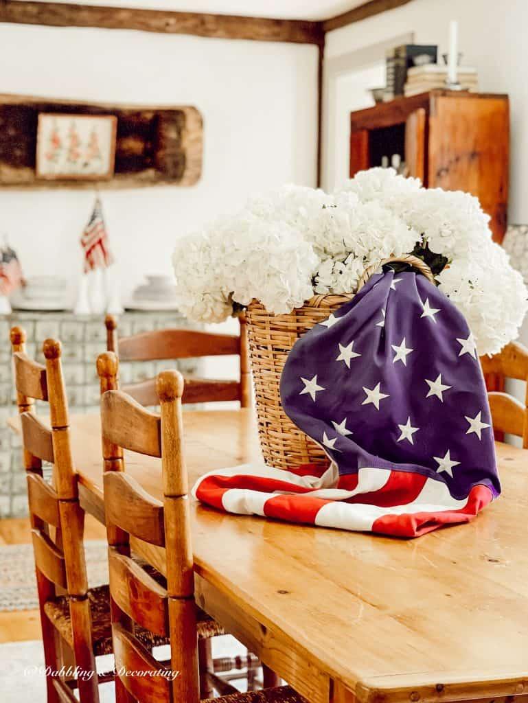 A Patriotic Basket Full of Hydrangeas