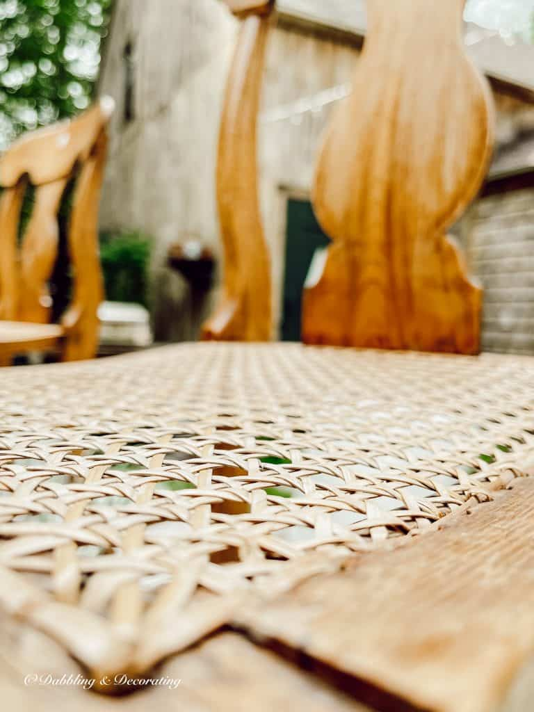 Close up of cane on the chair