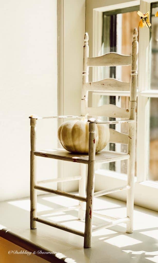 White Doll Chair with Pumpkin