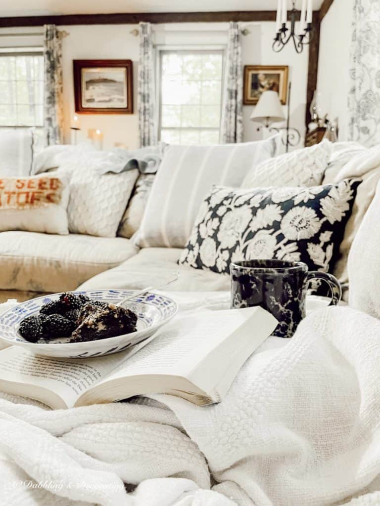 cozy couch with dessert and coffee