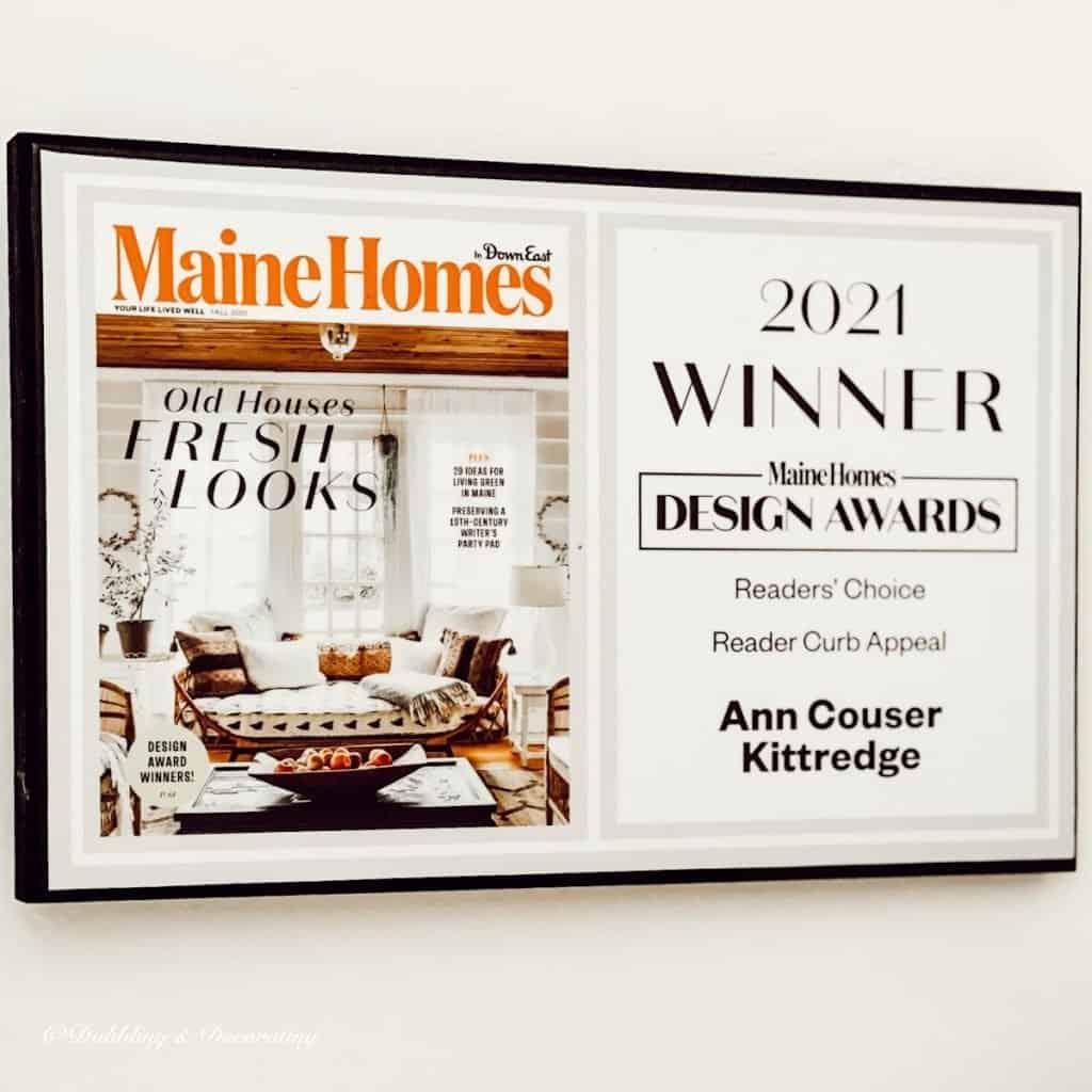 Maine Homes Magazine Awared