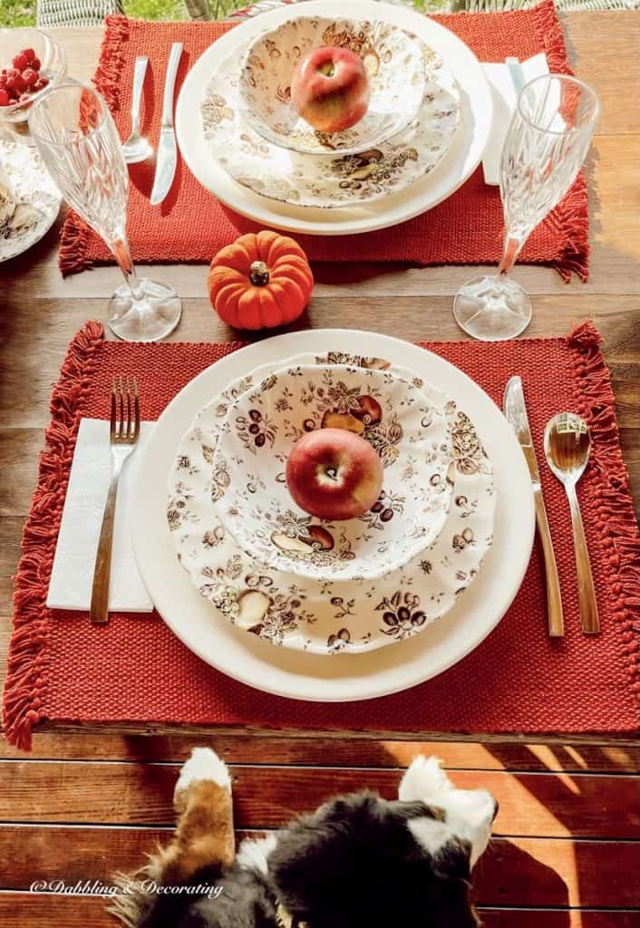Fall Tablescape in the Season of Autumn with Bernese Mountain Dog.