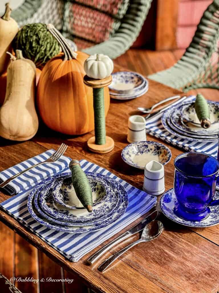 October blue and white table setting